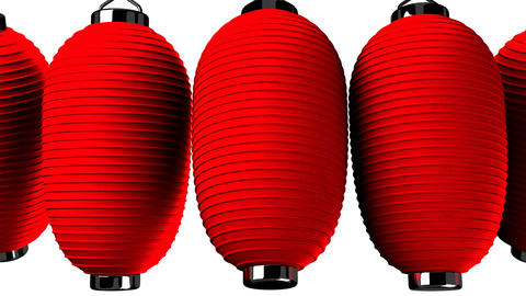 Red paper lantern on white background CG動画