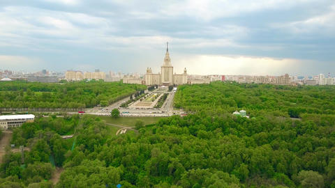 Moscow State University MSU and Vorobievy Gory or Sparrow Hills recreation area Live Action