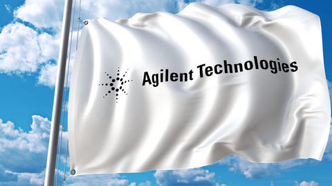 Waving flag with Agilent Technologies logo. 4K editorial animation Footage