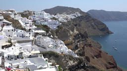 Greece Aegean Sea Cyclades Santorini white houses of Oia on volcano crater Footage