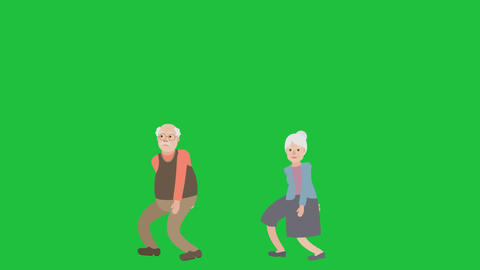 Senior Couple Walking Apart: Green Screen + Matte Videos animados