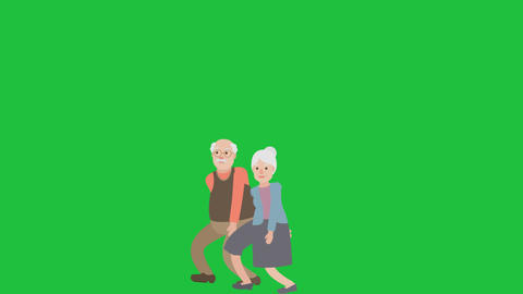 Senior Couple Walking Close on Green Screen: Loop + Matte Videos animados