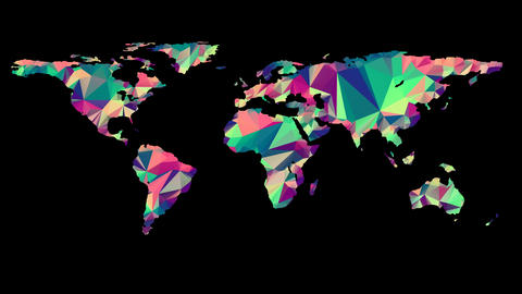 Polygonal Multicolored Earth Map Animation