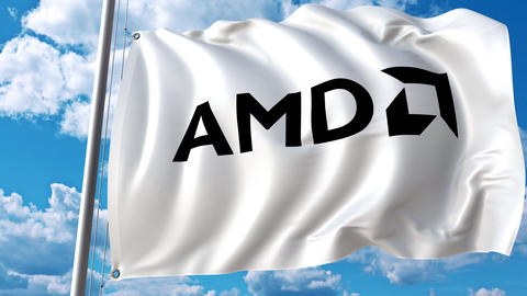 Waving flag with Advanced Micro Devices AMD logo. 4K editorial animation Live Action