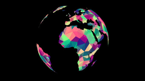 [alt video] Rotating Polygonal Multicolored Globe