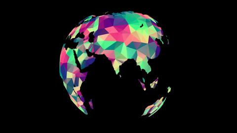 Rotating Polygonal Multicolored Globe Animation