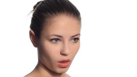 Beautiful girl sexy lipstick Stock Video Footage