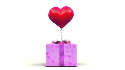 Valentine's Heart out of the gift box Stock Video Footage