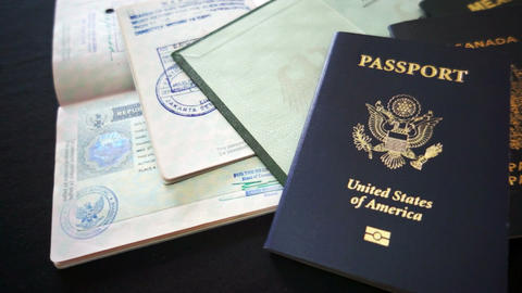 Passports and Travel Documents Stock Video Footage