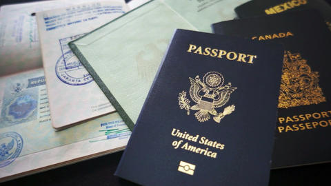 Passports and Travel Documents Footage