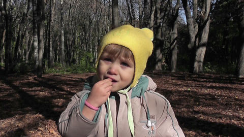 small boy eats in park Stock Video Footage