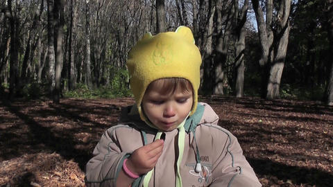 small boy eats in park Footage