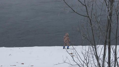 Winter Fisherman 02 Stock Video Footage
