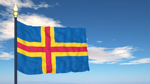 Flag Of Aland islands Stock Video Footage