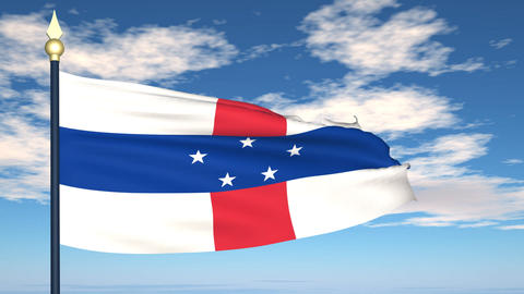Flag Of Netherlands Antilles Stock Video Footage