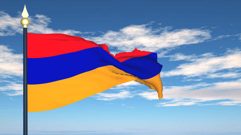 Flag Of Armenia Stock Video Footage
