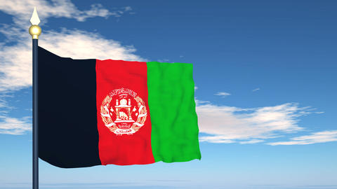 Flag Of Afghanistan Stock Video Footage