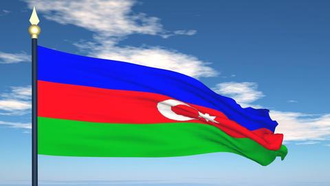 Flag Of Azerbaijan Stock Video Footage