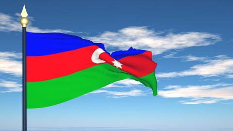 Flag Of Azerbaijan Stock Video Footage