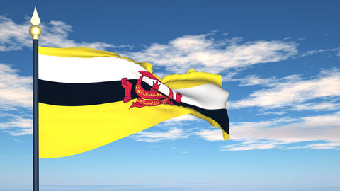 Flag Of Brunei Stock Video Footage