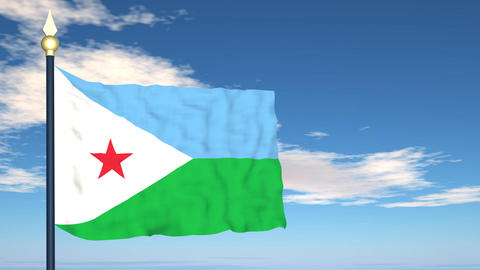 Flag Of Djibouti Stock Video Footage