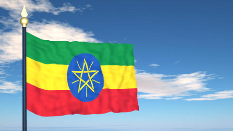 Flag Of Ethiopia Stock Video Footage