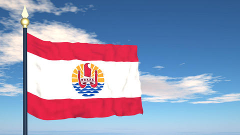 Flag Of French Polynesia Stock Video Footage