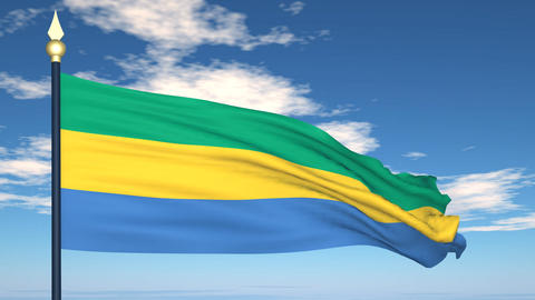 Flag Of Gabon Stock Video Footage
