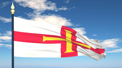 Flag Of Bailiwick of Guernsey Stock Video Footage