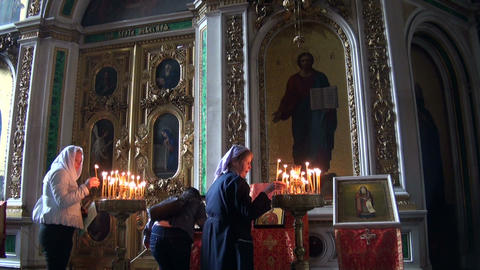The interior of an orthodox church Stock Video Footage