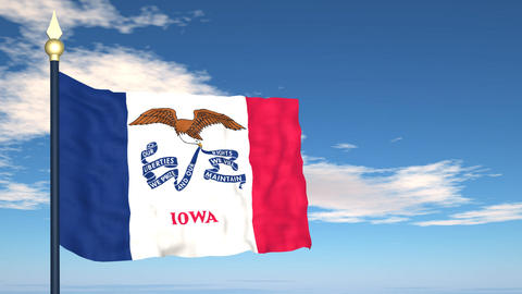 Flag of the state of Iowa USA Stock Video Footage