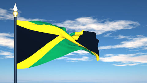 Flag Of Jamaica Stock Video Footage