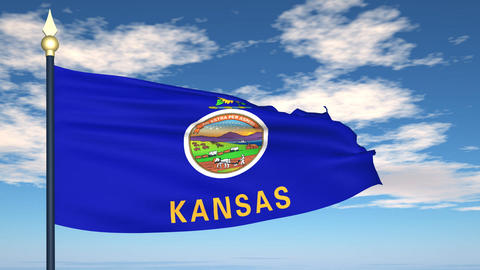 Flag of the state of Kansas USA Animation