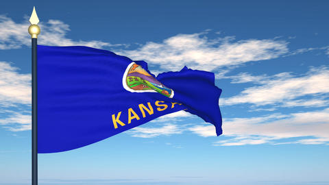 Flag of the state of Kansas USA Stock Video Footage