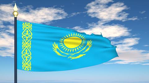 Flag Of Kazakhstan Stock Video Footage