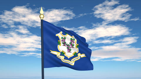 Flag of the state of Connecticut USA Animation