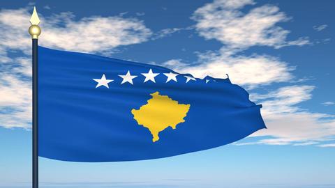 Flag Of Kosovo Stock Video Footage