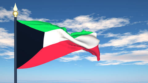 Flag Of Kuwait Stock Video Footage