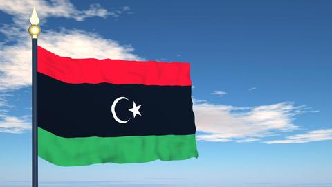 Flag Of Libya Stock Video Footage