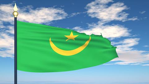 Flag Of Mauritania Stock Video Footage