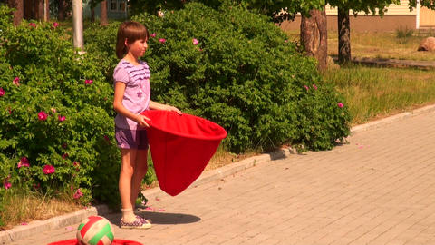 The child catches the ball bag Stock Video Footage
