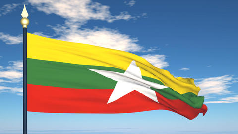 Flag Of Myanmar Stock Video Footage