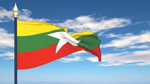 Flag Of Myanmar Stock Video Footage