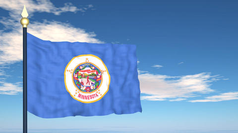 Flag of the state of Minnesota USA Stock Video Footage