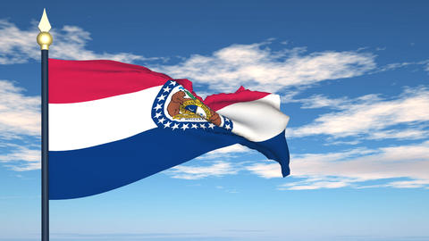 Flag of the state of Missouri USA Stock Video Footage