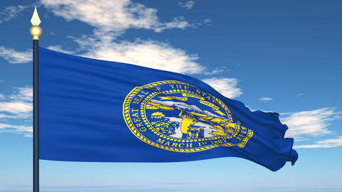 Flag of the state of Nebraska USA Stock Video Footage