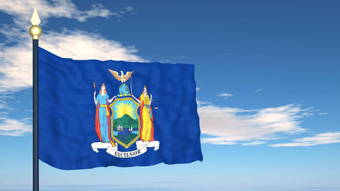 Flag of the state of New York USA Stock Video Footage