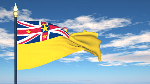 Flag Of Niue Stock Video Footage