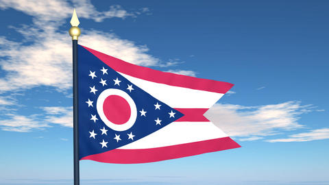 Flag of the state of Ohio USA Stock Video Footage