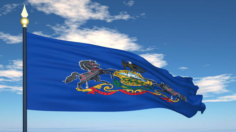 Flag of the state of Pennsylvania USA Stock Video Footage